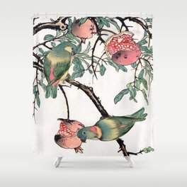 Pomegranate and Lovebirds Shower Curtain
