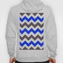 Blue Nebulas and Grey ZigZag Chevron Pattern Hoody