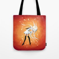 swan queen Tote Bags featuring Swan by Freeminds
