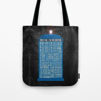 doctor who Tote Bags featuring Doctor Who  by Luke Eckstein