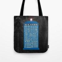 luke hemmings Tote Bags featuring Doctor Who  by Luke Eckstein