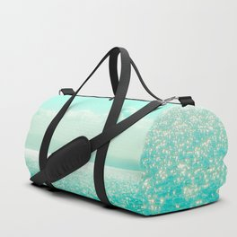 Winter Aqua Sparkling Seashore Duffle Bag