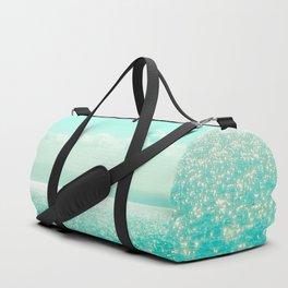 Winter Aqua Sparkling Seashore Duffle Bag
