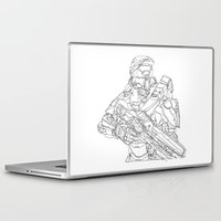 master chief Laptop & iPad Skins featuring HALO Master Chief continuous line by Sam Hallows