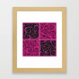 Raspberry patchwork Roses. Framed Art Print