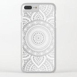 Silver Mandala Pattern Illustration Clear iPhone Case