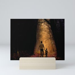 Father and Son in the Woods Mini Art Print