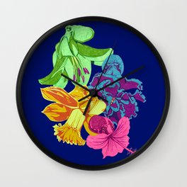 Octopus Flower Garden Wall Clock
