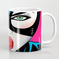catwoman Mugs featuring Catwoman by mark ashkenazi