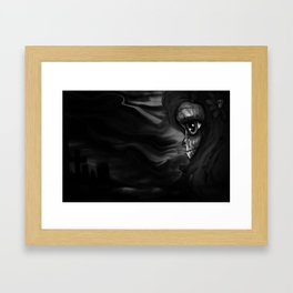 Black and white Skully Framed Art Print
