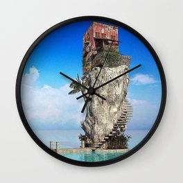 House in the middle of the sea Wall Clock