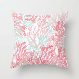 Modern hand painted coral pink teal reef coral floral Throw Pillow