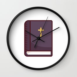 Closed Bible Book With Cross on Cover Wall Clock
