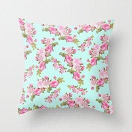 Pink & Mint Green Floral Throw Pillow