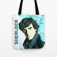sherlock holmes Tote Bags featuring Sherlock Holmes by illustratemyphoto