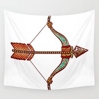 zodiac Wall Tapestries featuring Sagittarius Zodiac by Kerstin Schoene