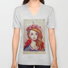 Floral Girl on dictionary page Unisex V-Neck