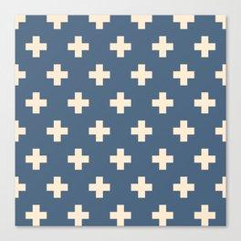 Swiss Cross Blue Canvas Print