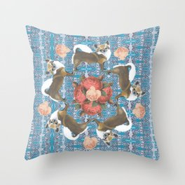 Chihuahuas Vintage Roses on Digital Background Circular Throw Pillow