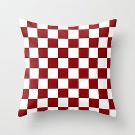 Red White Checker Throw Pillow