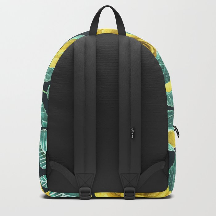 Yellow watercolor roses with leaves and buds pattern Backpack