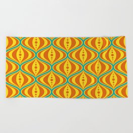 Retro Psychedelic Saucer Pattern in Orange, Yellow, Turquoise Beach Towel