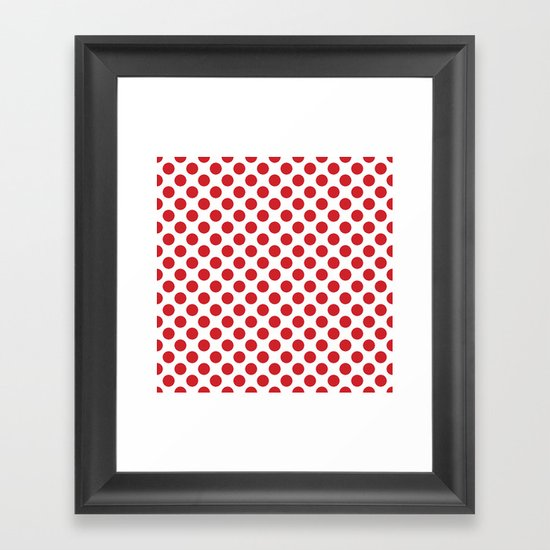 White and red polka dots Framed Art Print