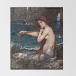 John William Waterhouse - A Mermaid Throw Blanket