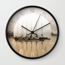 Foggy weather and moored boats Wall Clock