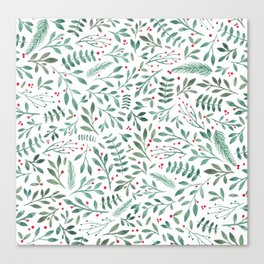 Green Leaves and Red Berries. Canvas Print