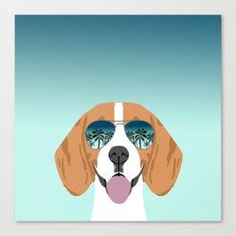 Tropical Beagle illustration cute palm trees sumer sunglasses dog design Canvas Print