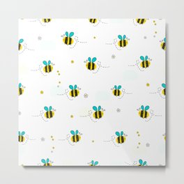 Seamless kids pattern with bee and cute flowers Metal Print
