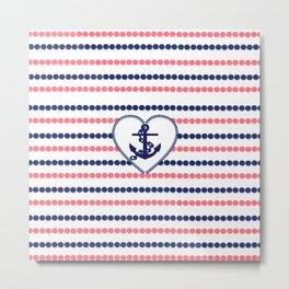 Nautical blue heart anchor coral modern polka dots stripes Metal Print