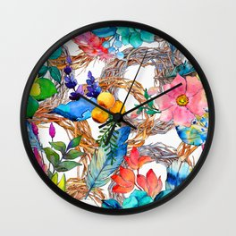 Colorful Watercolor Floral Pattern With Beautiful Wreaths Wall Clock