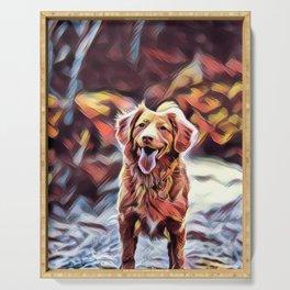 Cute Dog Art Design Serving Tray