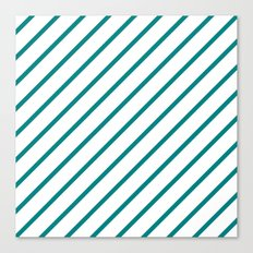 Diagonal Lines (Teal/White) Canvas Print