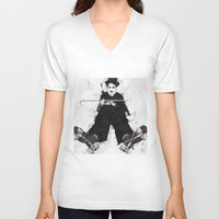 chaplin V-neck T-shirts featuring CHAPLIN by Analy Diego
