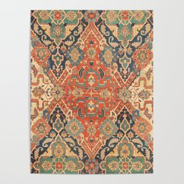 Geometric Leaves VII // 18th Century Distressed Red Blue Green Colorful Ornate Accent Rug Pattern Poster