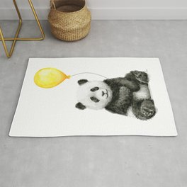 Panda Watercolor Animal with Yellow Balloon Nursery Baby Animals Rug