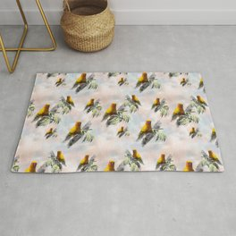 Sun Parrots looking at you Rug