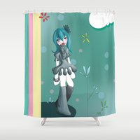 women Shower Curtains featuring Women by Poome et les petites choses