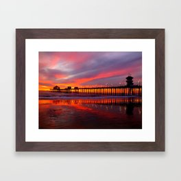 Sunset At The Pier * Huntington Beach, California Framed Art Print