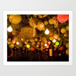 Travel Photography : Fishing Buoys Decoration (Lights, Nets, Tiki Hut) Art Print