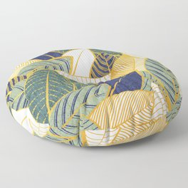 Leaf wall // navy blue pine and sage green leaves golden lines Floor Pillow