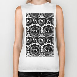 NYC Glam League Crest No. 5 in Black + White Biker Tank