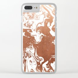 Marble suminagashi copper metallic japanese spilled ink watercolor ocean swirl marbling Clear iPhone Case