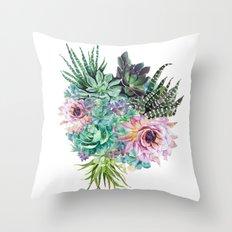 Succulent Bouquet Throw Pillow