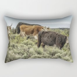 Five Cows Coming Down a Hill Rectangular Pillow