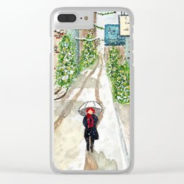 Snowfall in Quebec City Clear iPhone Case