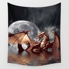 Mystical Dragon and Moon Fantasy Design Wall Tapestry